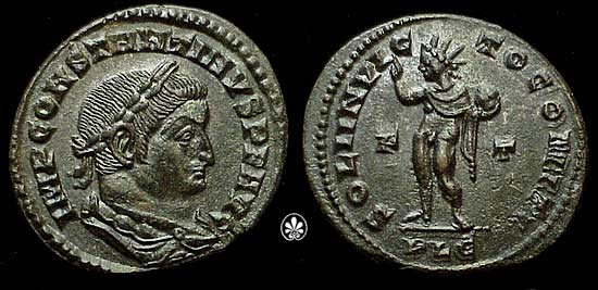Kovanica cara Konstantina i Sol Inviktus (nepobjedivo sunce)