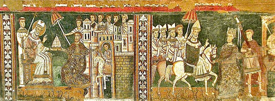 Freska iz srednjeg vijeka koja prikazuje Konstantinovo navodno prenošenje moći na papu Silvestera I