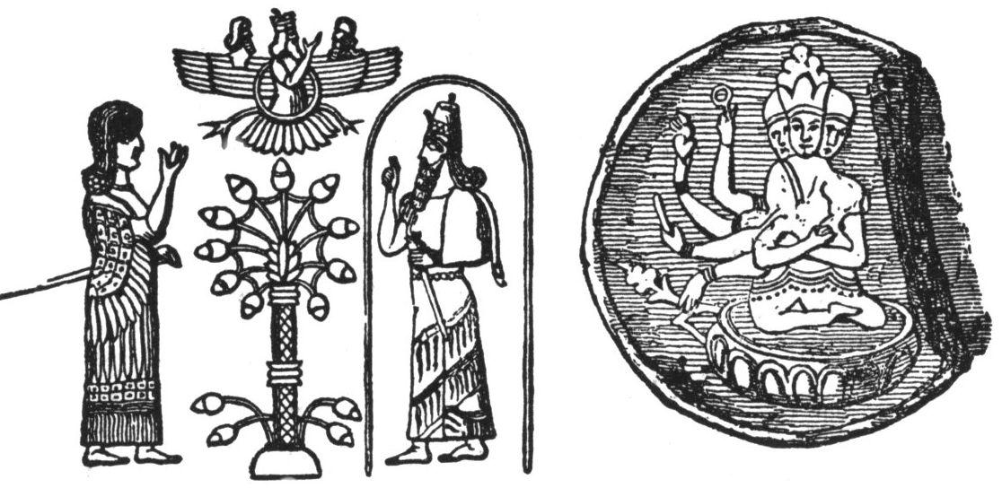 Asirsko trojstvo (slika lijevo) i trojstvo na sibirskom medaljonu