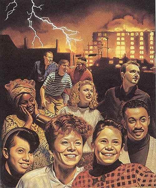 Ilustracija grupe Jehovinih svjedoka koji se raduju spasenju, dok u pozadini svijet ostaje u haosu uništenja