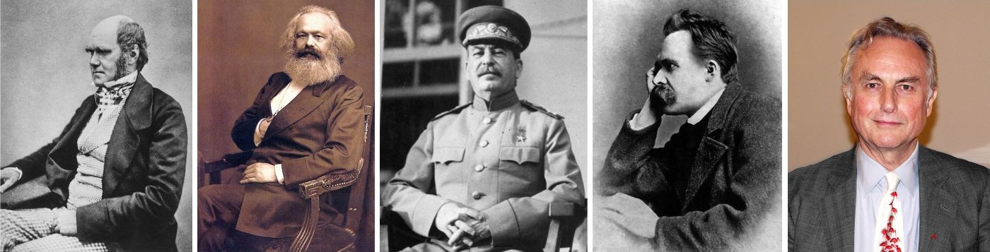 Čarls Darvin | Karl Marks | Josif Staljin | Fridrih Niče | Ričard Dokins
