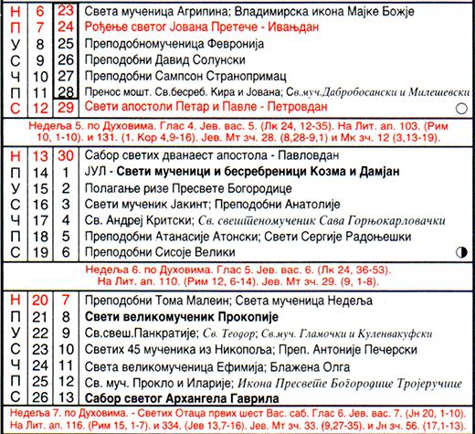 Pravoslavni crkveni kalendar, jul 2014