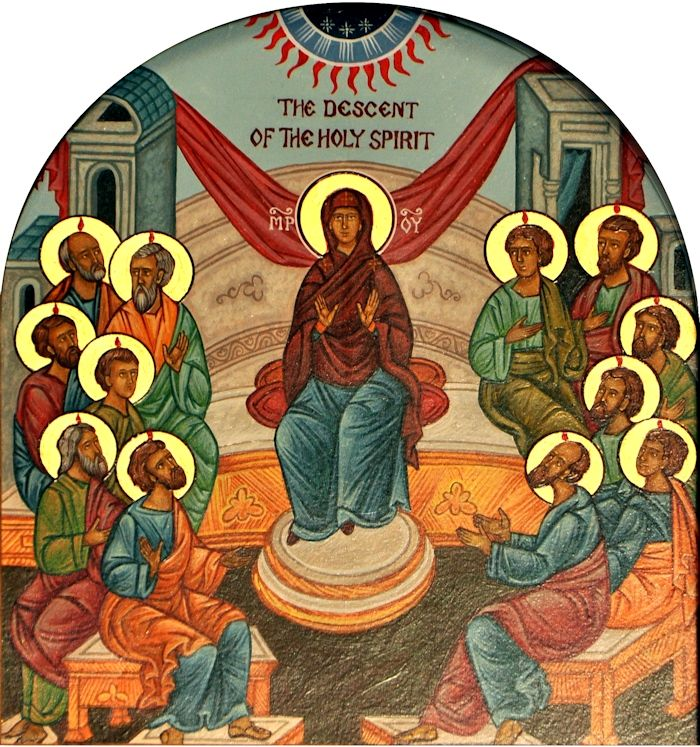 Tradicionalni prikaz silaska Svetog Duha (Wikipedia)