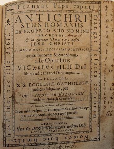 """Andreas Helwig, """"Antichristus Romanus"""", 1630. godine"""